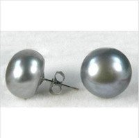 REAL 12-13 MM PERFECT TAHITIAN BLACK PEARL EARRING 14K WHITE GOLD MARKED