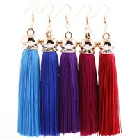 Wholesale Temperament Fashion Shop - European And American Style Fashion Temperament Girl Earrings Long Tassels Eardrop 14 Colors Wholesale And Retail Drop Shopping