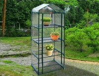 Wholesale powder coats - Hot 4 tier Mini Portable GreenHouse w Shelves Mini Green Plants House