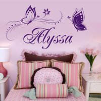 Wholesale Custom Wallpaper Designs - Custom Name DIY Butterfly Vinyl Wall Stickers Flower Wall Decals for Kids Rooms Wallpaper Stickers Poster Home Decoration Hot Sell