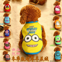 Wholesale America T Shirt Small - The new autumn and winter clothes pet cat dog small yellow Captain America thick warm vest