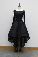 Wholesale Beaded High Low Homecoming Dress - In Stock Sexy Beaded Black Lace High Low Evening Party Gowns 2016 Bateau Neck Backless Prom Dresses US 6 8 10