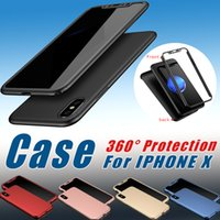 Wholesale Green Cased Glass Wine - 360 Degree Protection Full Cover Case For Iphone X With Tempered Glass Screen protector Hard PC Case For Iphone X 8 Plus 7 6S Samsung S8