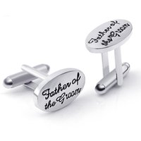 Wholesale Cufflink Silver Plate - Father's Wedding Gift Tuxedo Stylish Cufflinks Silver Plated Oval Handstamped Father of the Groom Bride French Shirt Cuff Links