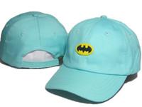 Wholesale Cheap Batman Caps - Cheap blue Cotton Summer Embroidered batman Marvel Hats For Men Cool Brand Designer Hip Hop Baseball Cap Women Golf Hat Sport Casquette DDMY