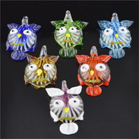 Wholesale Unique Cheap Jewelry - 2016 Clear Owl animal Shaped Glass Pendants Necklace Unique Murano Glass Jewelry Lampwork Glaze Pendant in Bulk Cheap