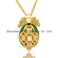 Wholesale Russian Maple - Stylish women jewelry high quality necklace colorful enamel maple leaf white pearl girls Russian style Faberge egg pendants for ladies