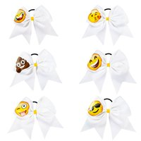 "Wholesale Kids Elastic Hair - 7.5"" High Quality Fashion Handmade Solid Ribbon Emoji Cheer Bow with Elastic Hair Band for Girls Kid Hair Accessories"