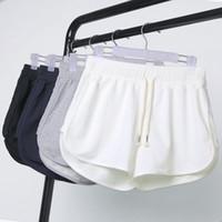 Wholesale lady summer short legging - Summer Shorts Women Elastic Waist Short Pants Lady Loose Solid Color Soft Short Wide Leg Beach Slacks Sports Runner Mini Pants OOA3216