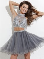 Wholesale Sexy Cocktail Bandage Dresses - 2016 In Stock Two Piece Short Mini Cocktail Homecoming Dresses Cheap High Neck Backless Sparkly Crystal Beaded Button Prom Party Dressed