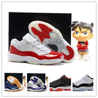 Wholesale Band Cherry - Wholesale Low Retro 11 XI Basketball Shoes Cherry Varsity Red White Mens Sports Shoes Running Sneaker High Quality Basketball Shoes With Box