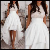 alto baixo vestido noite marfim venda por atacado-Halter A-Line High Low Prom Vestidos Marfim Chiffon Homecoming Vestido Barato Evening Dress Lace Top