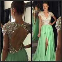 Wholesale Tight Short Evening Dresses - Sexy Mint Green Rhinestones Prom Dresses Deep V-neck Tight -High Split Evening Dress Long Cap Sleeve Backless Pageant Gown Luxury