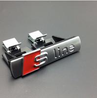 Wholesale Audi Sline Grill - 10pcs lot Matt ABS sline grill emblem For Audi S Line Sline car badges Emblem with clips silver for Audi A3 A4 A5 A6 S3 S4 TT Q7 QuattroTT