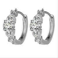 Wholesale Bling Earrings Hoops - New Design Bling Hoop Earrings Elegant Charm Austria Crystal Zircon Earrings Luxury Party Jewelry Wholesale for Women