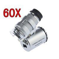 cep büyüteç led ışık toptan satış-Cep LED 60X Mikroskop Kuyumcu Büyüteç 60 X Mini Loupes Büyüteçler Mikroskoplar LED Işık ile + deri kılıfı + paket Son Fantezi