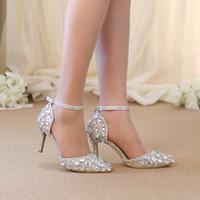 kristal yavru topuklar toptan satış-Sivri Burun Rhinestone Ayakkabı Yaz Sandalet Ayak Bileği Sapanlar Lady Yavru Topuk Ayakkabı AB Kristal Düğün Ayakkabı Ziyafet Pompaları