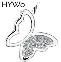 Wholesale Outlet Charms - HYWo (without chain) Factory outlets 925 Sterling Silver CZ Crystal Butterfly Pendant Necklace Hypoallergenic jewelry gift for women