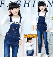 Wholesale Denim Overalls For Kids - 2016 New Skinny Jeans Children 2016 Summer Hot A15 New Brand Children Girl Denim Jumpsuit Kids Jeans Overalls for 4-13-14 Year Toddler