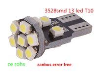 Wholesale 13 Smd W5w Led Bulb - w5w 194 168 led indicator Canbus 13 3528 SMD T10 wedge LED Car lights clearance led auto Bulbs instrument Lamps White 12V DC