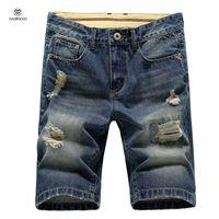 Wholesale Denim Shorts 38 - Wholesale-Summer 2016 Mens Shorts Denim Bermuda Cotton Knee Length Ripped Shorts For Boys Sport Gym Mens Denim Shorts Large Size 38 36 30