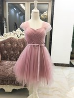 Wholesale Bow Cameo - embroidery cameo brown lace up bridesmaid dresses new autumn winter 2017 short long style prom dress plus size Custom