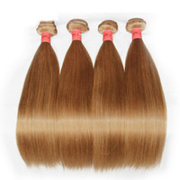 Wholesale Honey Blonde Indian Remy Hair - Honey Blonde Human Hair Weaves Bundles Color 27# Brazilian Peruvian Malaysian Indian Russian Straight Virgin Remy Hair Extensions Grade 8A