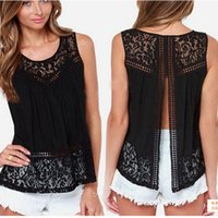 Wholesale T Back Tank Tops Women - Fashion Ladies Lace Tank Tops Sleeveless T-shirts Vest Summer Blouse Tees Back Split Black White Blouses Womens Clothing Apparel Plus Size