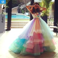 Wholesale Sweetheart Colorful Prom - 2017 Colorful Rainbow Prom Dresses A Line Sweetheart Off Shoulder Prom Gowns Lace Up Back Soft Tulle Bridal Dresses BA1754
