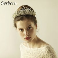 Wholesale Handmade Beaded Headbands - Sorbern Rhinestone Crystal Tiaras Handmade No Fading Wired Beaded Headband Tiara Bride Crown Luxury Wedding Korean Hair Ornaments