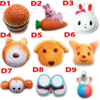 Wholesale Cute Dog Toys - DHL Squishy Toy hamburger rabbit dog bear squishies Slow Rising 10cm 11cm 12cm 15cm Soft Squeeze Cute Strap gift Stress children toys D10