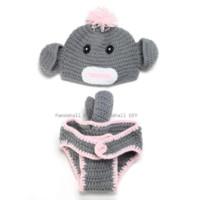 Wholesale Monkey Hat Set Baby - Baby Garment Photography Props Cute Monkey Design Handmade Crochet Baby Beanie Costume Gray 350x410mm; 2pcs set beanie with ear flap