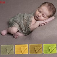 Wholesale Crocheted Baby Shawls - Wraps Baby Costumes Infant Stretch Knit Crochet Photography Props Hammocks For Newborn Photo Cape Shawl 65x 40 Green Yellow New Hot SV019163