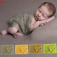 Wraps Baby Kostüme Infant Stretch Knit Häkeln Fotografie Requisiten Hängematten Für Neugeborenen Foto Cape Shawl 65x 40 Grün Gelb New Hot SV019163