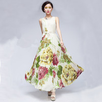 Wholesale Chinese Fleece Flower - 2016 Chiffon Dress Fashion Summer High Quality flower sleeveless Unique Chinese style ink painting Bohemia Beach Dress 3026