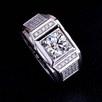 Wholesale topaz gemstone men rings - Size 8-13 Wholesale Brand New Fashion Men Jewelry 10kt White gold Filled Topaz Simulated Diamond Gemstone Wedding Band Rings for couple Gift