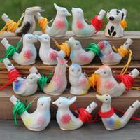 seramik sırlar ücretsiz gönderim toptan satış-Yaratıcı Su Kuş Düdük Kil Kuş Seramik Sırlı Şarkı Chirps Çocuk Oyuncakları Noel Partisi Hediye Ücretsiz Kargo ZA4340