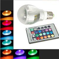 Wholesale Highest Power Rgb E27 9w - High Power 9W 15W E27 LED Light GU10 LED Bulb B22 E14 Bulb Light AC90-260V Colorful LED RGB Light Bulb Lamp + 24-key Infrared Remote Contro