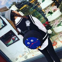 Wholesale Small Cute Clocks - New style Cute cartoon Children's locomotive backpack Embroidered small hand backpack Bow tie clock style Double color