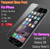 iphone klares frontglas großhandel-Neue erstklassige ausgeglichenes Glas-freier Schirm-Schutz für iPhone 7 i7 plus Samsung Note5 S7 3D-Note harte kratzfeste schützende Front