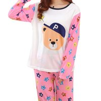 Wholesale Sexy Brown Bear - Wholesale- 2017 Spring Autumn Couple Pajamas Cute Cartoon Bear Heart Printed Patchwork Long Sleeve Men and Women 2 Pieces Nightwear Clothes