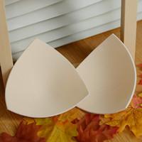 Wholesale Wholesale Foam Bra Cups - Wholesale-foam bra pads triangle shape bikini chest enhancers bras cups push up removeable cotton swimwear inserts