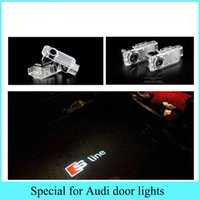 Wholesale Door Led Logo Audi - Auto car styling light source LED door welcome lights laser projector logo for Audi A3 A6 A7 A8 R8 Q5 Q7 TT RS