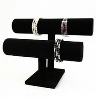 Wholesale 2 Tier Velvet Jewelry Organizer Black Stand Holder for Bracelet Necklace Watch Display Stand Holder