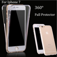 Wholesale Iphone Smart Cover Front - 360 Degree Full Body Case Soft TPU Smart Front Back Two Pieces Protective Coverage Cover For iphone7 7plus