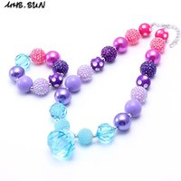 Wholesale diy kids bracelets necklaces resale online - MHS SUN Purple Blue Color Kid Chunky Necklace Bracelet Set Fashion DIY Children Girl Toddler Bubblegum Chunky Bead Necklace Jewelry Set