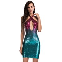 Polyester Lila Abendkleid Kaufen -Gold Lila Pailletten Mini Bodycon Kleid Criss-Cross Halter Backless Abendkleid Slim-Fit Bling Cocktail Party Kleider Vestidos LJG0605