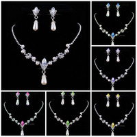 Wholesale water pearl necklace set resale online - Bridesmaid Jewelry Set for Wedding Faux Pearls Rhinestone Necklace Water Drop Earrings Jewellery Set Party Jewelry Set