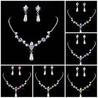 ingrosso set perle d'acqua-Set di gioielli da damigella d'onore per collana di strass con perle sintetiche da sposa Orecchini con goccia d'acqua Set di gioielli Set di gioielli da festa