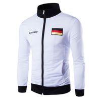 Wholesale Germany Coat - Fall-Basketball Jersey 2016 Men Sports Coat Casual Cardigan Jacket Men Collar Embroidery Germany Spanish Flag Sweatshirt Jacket Men